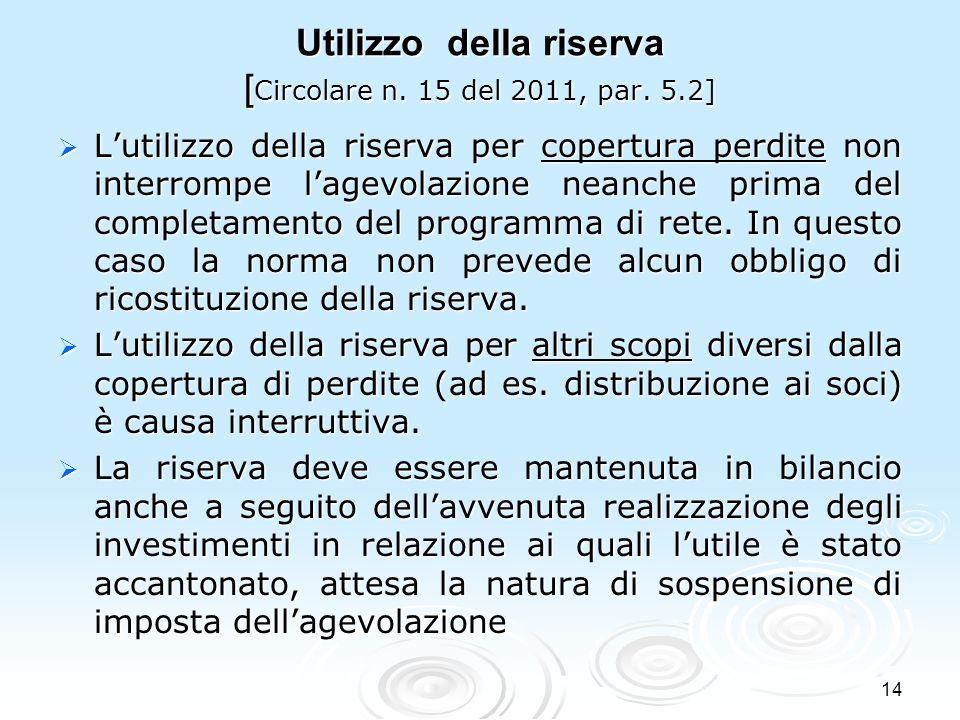 Utilizzo della riserva [Circolare n. 15 del 2011, par. 5.2]